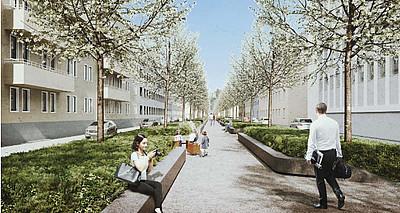 Die neue Südallee wird zur grünen Achse für Rad und Natur